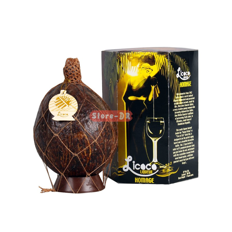 Licoco licorice Homenaje Coconut Liqueur in natural coconut 28% alc. 0.3 ml